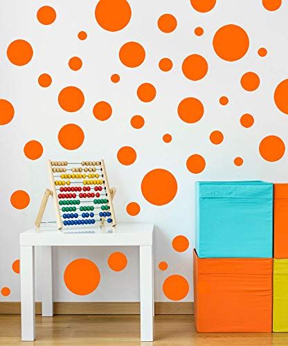 Create-A-Mural Polka Dot Wall Stickers, Wall Decor Stickers, Wall Dots, Vinyl Circle Room Dot Decals (Orange)
