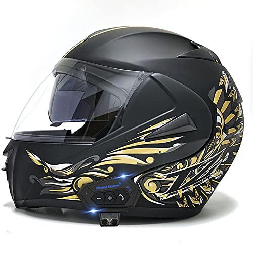 Casco Bluetooth para motocicleta, integral Bluetooth integrado Cascos para motocicleta a prueba de agua Cascos modulares Bluetooth Evolution con visor doble Aprobado por DOT/ECE,C,M