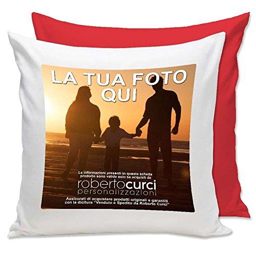 Cuscino Personalizzato con Foto - Quadrato 40 x 40 cm - Rosso, 40x40 cm - con Imbottitura
