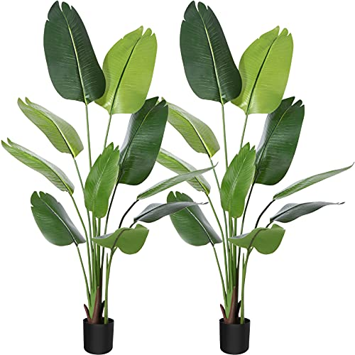 CROSOFMI Artificial Bird of Paradise Plant Fake Tropical Palm Tree ,Perfect Feaux Plants in Pot for Indoor Outdoor Home Office Garden Modern Decoration Housewarming Gift,5.2Feet-2Pack