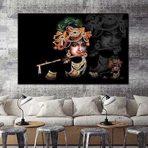 Radha Krishna Poster Leinwand Poster Kunst Home Decoration Wand Poster Leinwand Tapeten Bilder Wohnzimmer Dekoration 30x40cm (kein Rahmen)