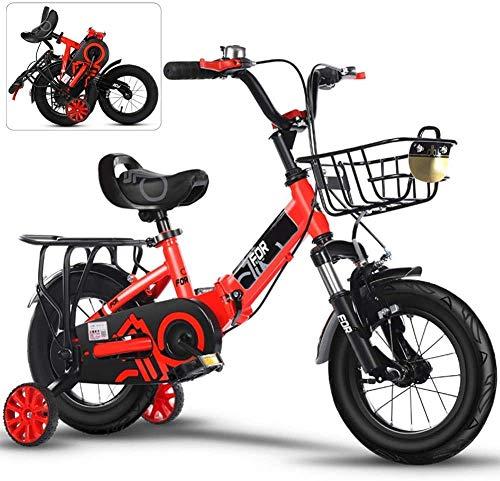 14.12/16/18/20 In Kinder Folding Fahrrad Boy Stroller 3-6 Jahre altes Mädchen Baby-Fahrrad, Geschlossener Kettenschutz Anti-Rutsch-Fuß Bequeme Stoßdämpfer Vorderradgabel,12in red