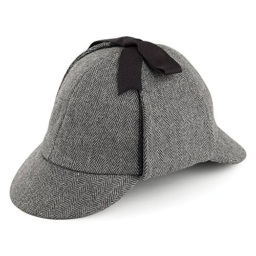 Jaxon & James Sherlock Holmes Hut in Fischgrätmuster - Grau - L