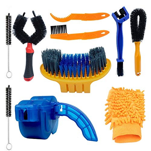 10pcs Bike Cleaning Brush Chain Cleaner Bicycle Cleaning Tool Washing Cleaning Kit for Mountain Bike Motorcycle City Road