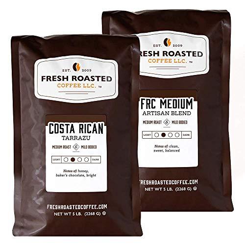 Fresh Roasted Coffee LLC, Medium Roast Bundle: Costa Rica Tarrazu / Medium Roast Blend, Whole Bean, 5 Pound Bags