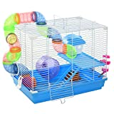 PawHut 2-Level Hamster Cage Gerbil House Habitat Kit Small Animal Travel Carrier with Exercise Wheel, Play Tubes, Water Bottle, Food Dishes, & Interior Ladder