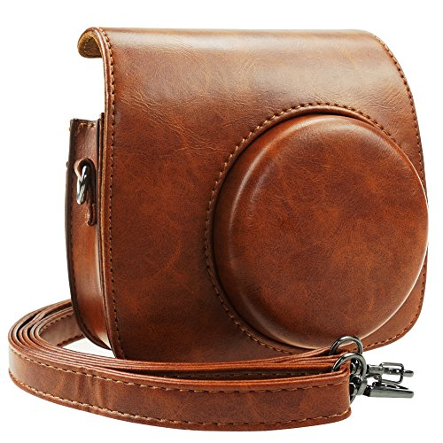 Blummy PU Leather Instax Mini 9 Camera Case for Fujifilm Instax Mini 8/ Mini 8+/ Mini 9 Instant Camera with Adjustable Strap and Pocket (Brown)
