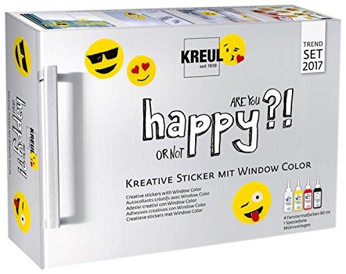 Kreul 42852 - Window Color Happyset, für kleine und große Kreative, 3 x 80 ml Fenstermalfarbe in schneeweiß, sonnengelb und kirschrot, 80 ml Konturenfarbe in schwarz, Spezialfolie und Malvorlagen