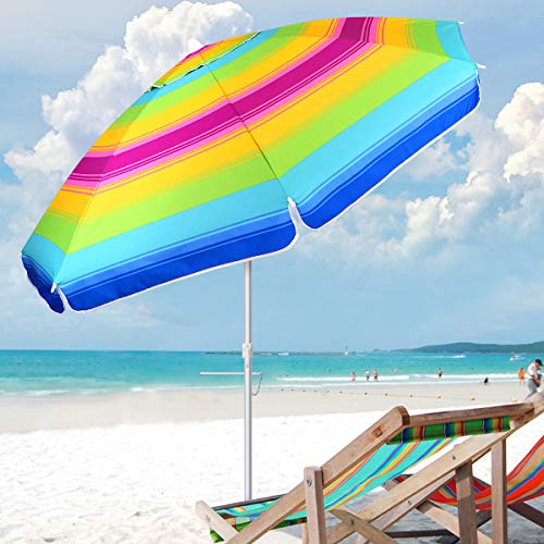 MOVTOTOP Beach Umbrella, 6.5ft Patio Umbrella with UV 50+ Protection Sand Anchor and Tiltable Aluminum Pole, Windproof Beach Umbrella with Portable Carry Bag for Outdoor Travel