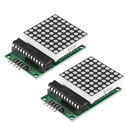 2Pcs MAX7219 8x8 Dot Matrix MCU LED-Anzeigemodul für Raspberry Pi, für Arduino UNO