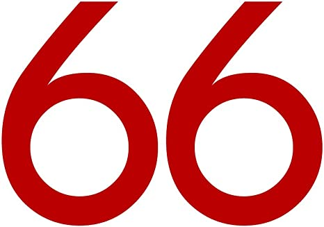 Zahlenaufkleber Nummer 66 Rot 10cm 100mm Hoch Aufkleber Mit Zahlen In Vielen Farben Höhen Wetterfest Küche Haushalt