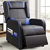 Vitesse Gaming Recliner Chair Racing Style Single Ergonomic Lounge Sofa Modern PU Leather Reclining Home Theater Seat for Living Gaming Room (Blue)