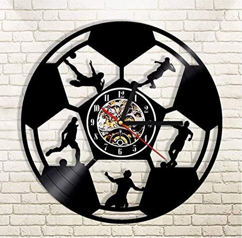 Vinyl wandklok 1 stuk voetbal ontwerp silhouet licht sport cadeau voor voetballiefhebber voetballer 12 inch 12 inch vinyl wandklok