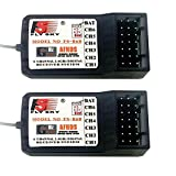 2PCS Flysky FS-R6B 2.4G 6CH Receiver - Miuezuth Radio Model Remote Control Receiver, Compatible with FS-I4 / FS-I6 / FS-I6X / FS-T6 / FS-I10 / FS-GT2E / FS-GT2G / FS-CT6B / FS-GT3B RC Transmitter Car