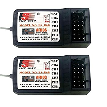 2PCS Flysky FS-R6B 2.4G 6CH Receiver - Miuezuth Radio Model Remote Control Receiver Compatible with FS-I4 / FS-I6 / FS-I6X / FS-T6 / FS-I10 / FS-GT2E / FS-GT2G / FS-CT6B / FS-GT3B RC Transmitter Car