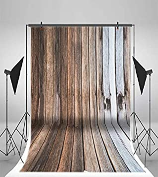 6.5x10ft Vinyl Wood Photography Backdrops Indoor Outdoor Gray Retro Shabby Wooden Floor and Wall Wood Texture Grunge Background for Children Adults Portrait Photo Booth Studio Prop Decoration