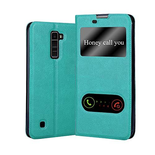 Cadorabo Custodia Libro per LG K10 2016 in TURCHESE MENTA - con Funzione Stand e Chiusura Magnetica - Portafoglio Cover Case Wallet Book Etui Protezione
