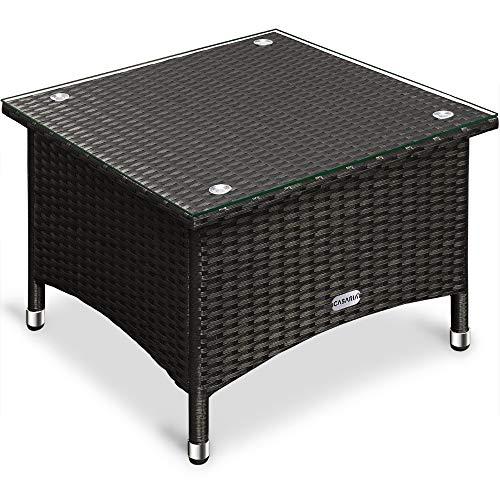 Table d'appoint / table basse en polyrotin - 50x50 x45cm - Noir - Maison/Jardin