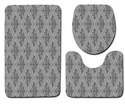 Badmat Kleed 3-Delige Set Zachte Grijze Bloemen Print Toiletbril Cover Badmat Deksel Cover Badmat Family Home Decor