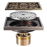 WXDL Bronce Canaleta de Ducha Latón Desagüe de Ducha para Baño Desodorante Drenaje de Ducha 4 Pulgadas Cuadrada Drenaje de Piso, Gran Caudal, Patrón de Flores