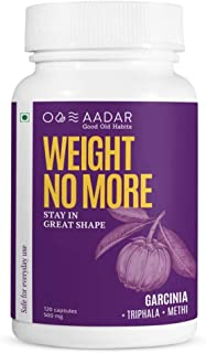 AADAR WEIGHT NO MORE | Natural Weight Loss Supplement | 120 Capsules | Belly Fat Burner for Men and Women | Garcinia Cambo...
