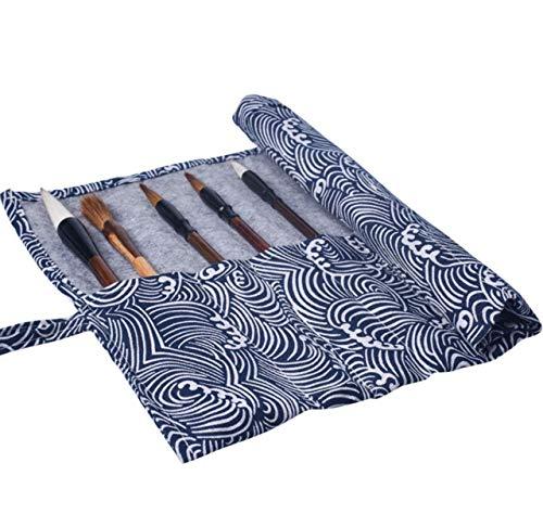 [kuros] 筆巻き 筆入れ 書道 習字 収納 保管 携帯 便利 簡単 丸める ペン ロールケース 布製 (波浪(表地柄))