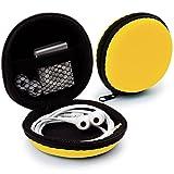 MyGadget Mini Funda Protectora para Auriculares [ In Ear ] - Caja Estuche de Transporte para iPod Shuffle, Airpods, SD Card, Flash Drive USB - Amarillo