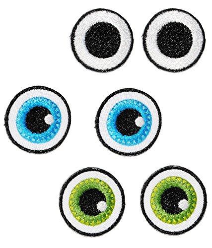 alles-meine.de GmbH XL Bügelbild -  3 Verschiedene - lustige Gesichter / Augen Paare  - Aufnäher Applikation - Auge - Menschen / Tiere - Gesicht - gewebter Flicken - Jungen & M..
