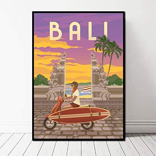 TELEGLO (No Frame 50 * 70cm Antalya Santorini Capadocia Bali París Ciudad Paisaje Cartel Lienzo Impresión de Arte Cuadros de Pared para Sala de Estar