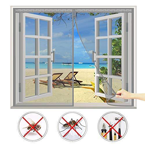 CHENG Fliegengitter Magnet tür 155x160cm Magnetischer Fliegenvorhang Moskitonetz Automatisches Schließen Schiebefenster Dachfenster - Grau