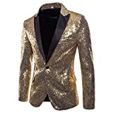 Gusspower Herren Sakkos Blazer Slim Fit Gold Pailletten Einreihig Revers Anzugjacke Party Smoking...