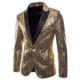 Logobeing Chaqueta de Traje para Hombre,Chaquetas para Hombre de Vestir Blazer Hombre Casual Fiesta Traje Ajustado Chaqueta de Abrigo de Lentejuelas para Hombre (M, Gold)