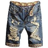 Chejarity Pantalones vaqueros cortos para hombre, pantalones cortos, para verano, tiempo libre, bermudas rectas, azul-1, Talla única
