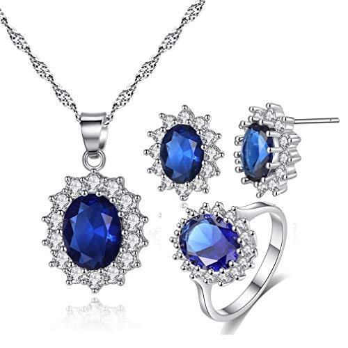YAZILIND Princesa Diana Kate Middleton Oro Blanco Plateado Oval Pendientes de Gota de Cristal/Collar/Anillo Conjunto de Joyas en Azul Tamaño de EE. UU. 9