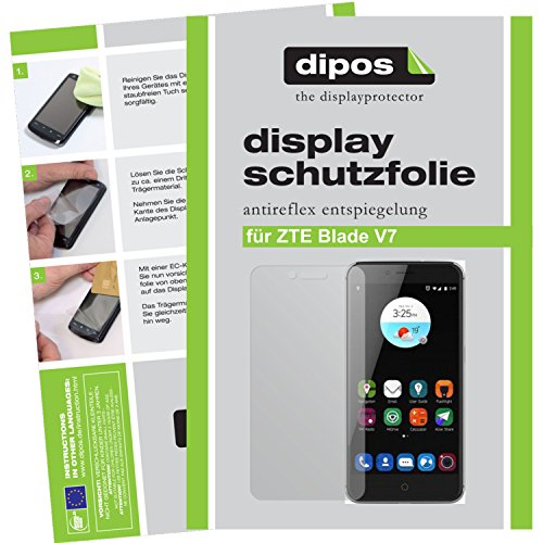 dipos I 2X Schutzfolie matt kompatibel mit ZTE Blade V7 Folie Bildschirmschutzfolie