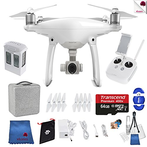 Dji phantom 4 starter bundle includes: dji phantom 4 drone + controller + foam case + 64 gb memory card + more