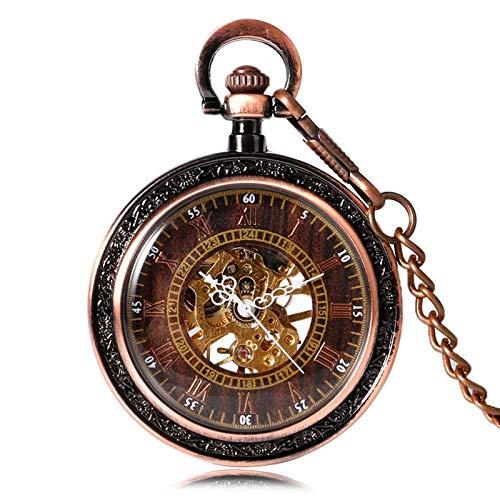 DIHAO Reloj de Bolsillo mecánico Vintage Reloj de Bolsillo Cuerda Manual Esqueleto Oro Rosa Elegante Colgante Cadena Regalo