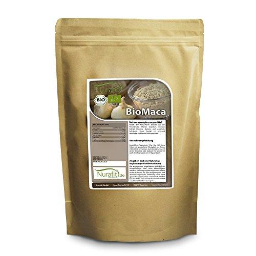 Nurafit BIO Maca Pulver I Vegan Rohkostqualität I Superfood mit Proteinen I Rein natürlich ohne Zusatzstoffe I Fitness-Pulver I 1kg / 1000g