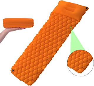 Inflatable Camping Sleeping Pad with Pillow Air Cells Design Lightweight Compact Mat for Hiking Backpacking Travel