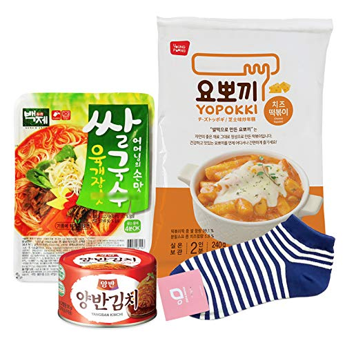 Yopokki Topokki and Baekje Rice Noodle Set / Korean Prepared Food Set - Topokki + Rice Noodle + Kimchi Can + Gift Socks (Cheese Topokki, Yukgaejang Rice Noodle Set)