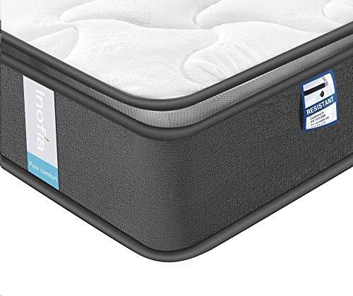 Inofia - Materasso a molle insacchettate in memory foam, altamente traspirante, con supporto a zone (100 notte) Super King-6FT(180x200x24cm) Airy Breathable+memory Foam