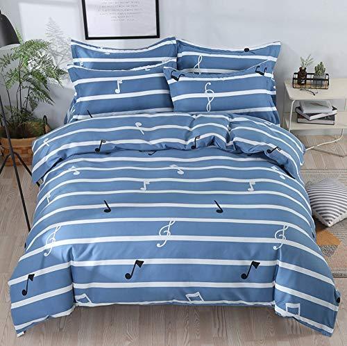 BEDSETAAA Bettwäscheset Simple Striped Music Blue Doppelte Bettdeckenbezug, 180 × 220Cm