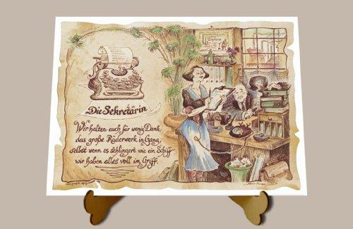 Geschenk Sekretärin Bürokraft Stenotypistin Gedicht Zeichnung Color 20 x 15 cm mit Aufsteller