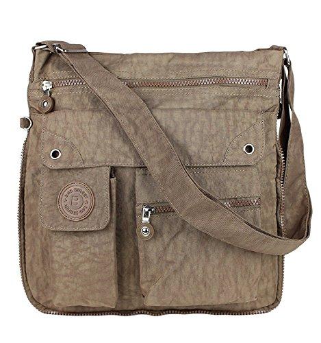Bag Street 2221 sportliche Handtasche Umhängetasche Schultertasche aus Nylon, Braun, 32 x 33 x 3 cm