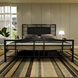 Metal Bed Frame Faux Leather Headboard and Footboard Platform Steel Slat Support No Box Spring Black Queen
