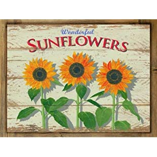 76DinahJordan Beautiful Sunflowers Metal Sign On Rustic Barn Frame Retro Home Kitchen Art:Wenstyle