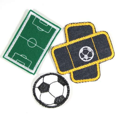 Aufbügler Fußball Set Fußballplatz 4,7 x 7 cm Pflaster 8,3 x 8cm und Fußball ø 5 cm Flicken Bügelflicken