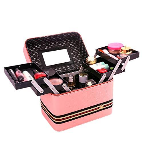 Sac cosmétique Sangle Grande capacité Portable 4 Ouvert Fonction boîte Simple boîte de Stockage Portable (24x18x24cm) (Color : Pink, Taille : 24 * 18