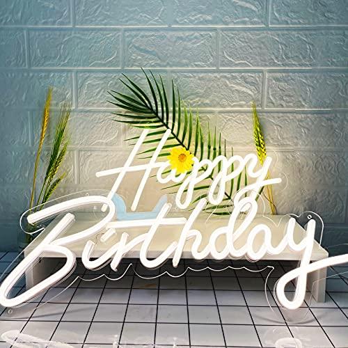 KUNBIGO LED Light Up Happy Birthday Neon Lamp Lights Dimmable White LED Neon Sign Décoration murale Lumières créatives avec adaptateur secteur Lampe au néon pour tout âge, amoureux, amis ou enfants Fête d'anniversaire surprise