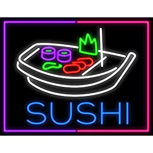 Desung 24″ Sushi Boat Neon Sign Custom Restaurant Food Shop Neon Lights Lamp Sports Bar Beer Signs Glass Neon Light CA16